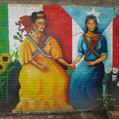 mexican puerto rican female heros mural